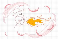 Male Breathing Fire, Hot Chili Pepper Concept Sketch. Vector Illustration Royalty Free Stock Photo
