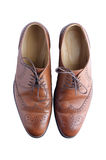 Male brogue shoes. On white background view from above Royalty Free Stock Image
