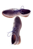 Male brown leather shoes isolate on white Royalty Free Stock Photography