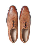 Men's  brown  leather  shoes isolated on a white Royalty Free Stock Image