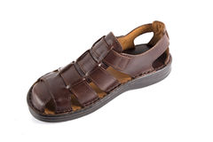 Male Brown Sandal, Top View. Royalty Free Stock Image