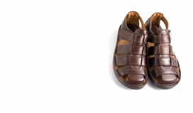 Male Brown Sandal, Top View. Royalty Free Stock Photo