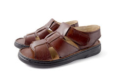 Male Brown Sandal, Top View. Royalty Free Stock Photos