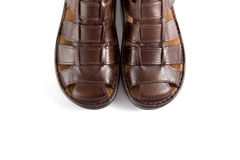Male Brown Sandal, Top View. Stock Photo