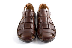Male Brown Sandal, Top View. Royalty Free Stock Photography