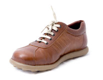Male brown shoe. A brand new shoe, brown leather for men Royalty Free Stock Images