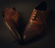 Male brown shoes Stock Photo