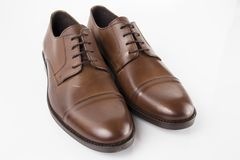 Male brown shoes leather. On white background, isolated Product Stock Photos