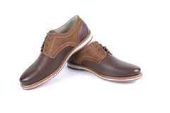 Male brown shoes leather. On white background, isolated Product Royalty Free Stock Photos