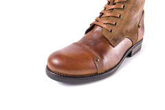 Male brown shoes leather. On white background, isolated Product Stock Images