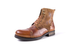 Male brown shoes leather. On white background, isolated Product Royalty Free Stock Photography