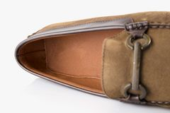 Male brown shoes leather. On white background, isolated Product Stock Photo