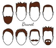 Male brunet hair and face fungus styles types, different hair cut, moustaches and beard, man head with brunet hair, guy. Crop concept, vector illustration, eps Stock Images
