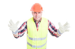 Male builder with bad attitude looking furious Royalty Free Stock Photo
