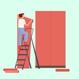 Male builder glue wallpaper red. Vector vector illustration