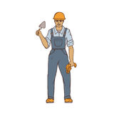 Male builder in overalls, hard hat, trowel and gloves in his hands. Worker in construction. People of professions Royalty Free Stock Photos