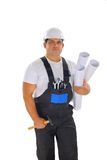 Male builder with plans Royalty Free Stock Photo