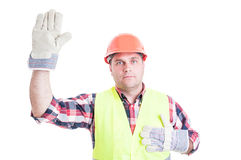 Male builder swearing or making oath Royalty Free Stock Photo