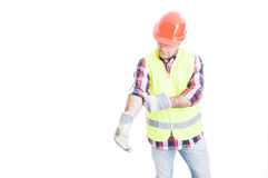 Male builder at work in protection clothes Royalty Free Stock Images