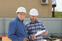 Male Building Engineers Visiting Construction Site Stock Images