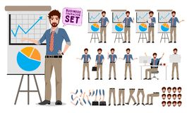 Male business character creation set showing business presentation stock illustration