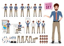 Male business character creation vector set. Office man cartoon character royalty free illustration