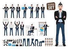Male business character vector set. Artist or designer cartoon characters stock illustration