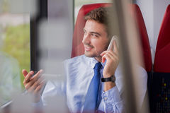 Male during business delegation. Picture of working male during business delegation stock photo