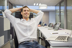 Male business desk breather laying Royalty Free Stock Images