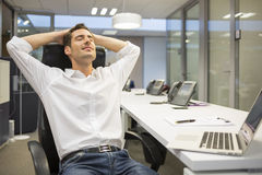 Male business desk breather laying Stock Images