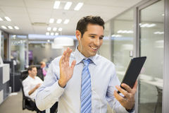 Male business digital tablet office skype royalty free stock photos