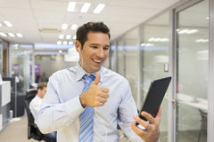 Male business digital tablet  office skype Royalty Free Stock Photography