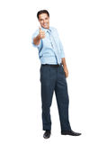 Male business executive gesturing thumbs up sign Stock Images