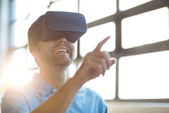 Male business executive using virtual glasses. In office Stock Photo