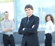 Male Business leader. Standing in front of his team Stock Photography