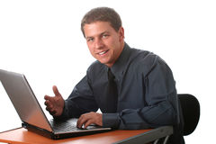 Male business man with laptop Stock Photo