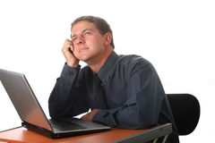 Male business man with laptop Stock Photography