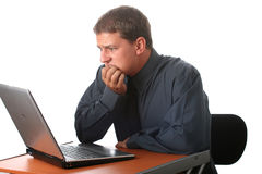 Male business man with laptop Royalty Free Stock Image