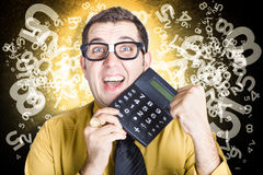 Male business person celebrating financial growth Royalty Free Stock Photography