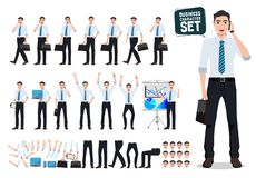 Male business person vector character creation set with business man talking on mobile phone vector illustration