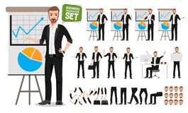 Male business vector character set. Business man cartoon character creation stock illustration