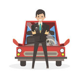 Male businessman bought the car. Character vector illustration flat  people. Stock Images