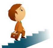 Male businessman with briefcase climb stairs. Vector illustration. Male businessman in brown suit with briefcase climb stairs Stock Photos