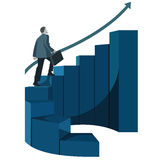 Male businessman with briefcase climbing stairs. Infographics Royalty Free Stock Photos
