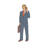 Male businessman in a business suit and a suitcase to talk on the cell phone in hand. Worker in finance and trade Royalty Free Stock Image