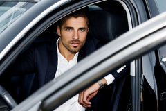 Male businessman in the car Royalty Free Stock Images