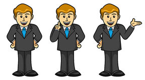 Male Businessman in different poses, Cartoon Royalty Free Stock Image