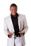 Male businessman with open palms. Stock Photography