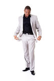 Male businessman showing open pockets. Royalty Free Stock Photo