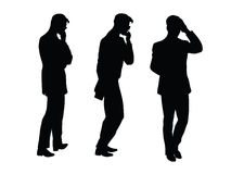 Male businessman thinks goes black silhouette figure Stock Photo